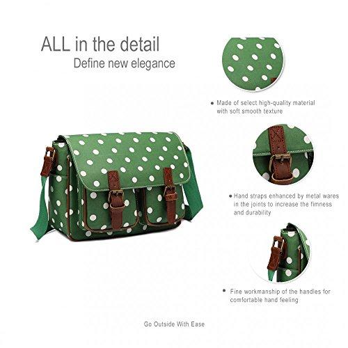 Miss Lulu, borsa a tracolla in tela cerata Verde, finitura opaca