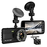 Dash Cam, 1080P Full HD 4 inch Screen Dual Cameras Front and Rear - JILUYI007