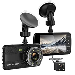 Dash Cam, 1080P FULL HD 4 Inch Screen Dual Cameras Front and Rear, Vehicle On-dash Video Recorder, Parking Monitoring, HDR Night Vision, Motion Detection, Built In G-Sensor