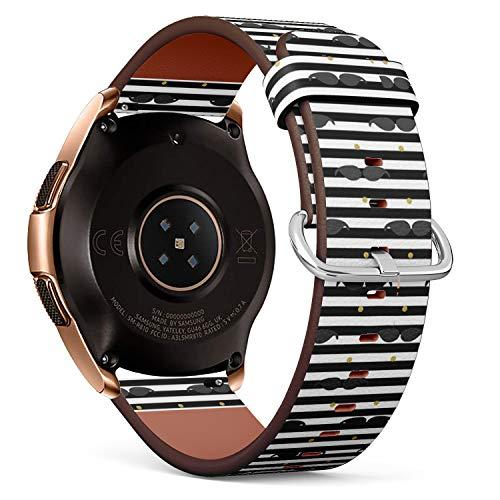Art-Strap Compatibile con Samsung Galaxy Watch (42mm) - Cinturini di Ricambio con Chiusura a Sgancio Rapido con Perni (Mustache...