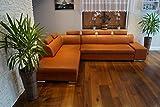 Quattro Meble Cognac Farbe Echtleder Ecksofa London II 6z 300 x 220 Sofa Couch mit Bettfunktion, Bettkasten und Kopfstützen Braun Glatt Echt Leder Venice Cognac Eck Couch große Farbauswahl