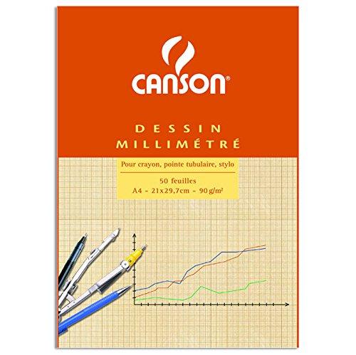 Canson Dibujo Canson milimetrado - Bloc de 50 hojas, A4-21 x 29.7 cm