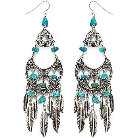 Les Plaisirs de Stella - Orecchini da donna, in metallo argentato, con perle in turchese e piume acchiappasogni, in stile inca, azteco e indiano