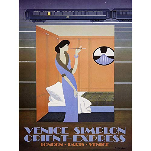 vel Rail Train Orient Express Venice London Paris Tunnel Retro Art Print Poster Wall Decor Kunstdruck Poster Wand-Dekor-12X16 Zoll ()
