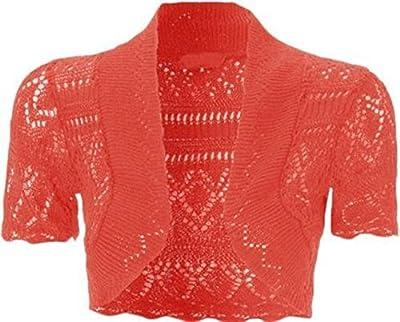 Ciudad de la moda® Ladies Bolero Shrug Top Manga Corta Crochet de Punto Abierto para mujer Cardigan Top Plus tamaños 8–22