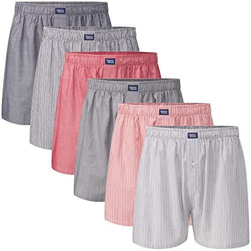 Charles Wilson 6er Packung Gewebte Boxershorts (Stripes & Plain, Large)