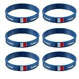 LUOEM Silikon Armbänder WM Flagge Fahne Frankreich Land Armband Fanartikel Fussball 2018 WM 6 Stücke France