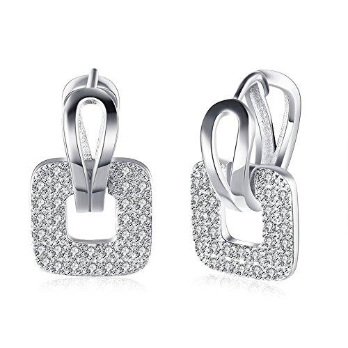 Orecchini donna,elegante argento orecchini quadrati di zirconia cubica da donna