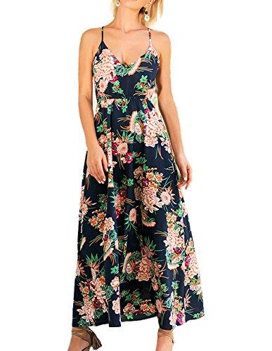 T.SEBAN Kleid Damen Sommerkleid Ärmelloses Maxikleid Blumendruck Strandkleid Cocktailkleid für Freizeit, Urlaub, Party