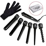 Lockenstab, NexGadget 6 in 1 Multi-Lockenwickler Kit, Austauschbares Multifunktions Lockenwickler Kit, Turmalin Keramik Lockenwickler professionelle Curling Eisenstab, Haar Lockenstab, mit hitzebeständige Handschuhe(Geschenk Set)