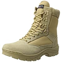 Mil-Tec Tactical Boat with YKK zipper, combat boots, trekking shoes, hiking shoes, various styles, Men, Tactical Boot M.ykk Zipper, khaki, 7.5 UK