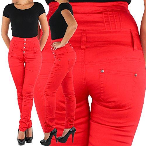Damen Jeans Röhrenjeans Stretchjeans Hochschnitt Corsagenjeans Stretch Hose Rot Rot