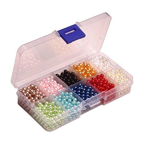 Homyl 3/4/5 / 6mm Imitation Perle Sans Trous Perles ABS En Plastique Perles En Vrac Pour Bricolage Art Artisanat Résultats - Multicolore, 1300 pcs 5mm