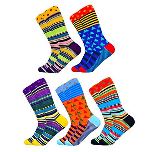 HIWEAR Herren Kleid Socken Bunte Phantasie Neuheit Lustiges Design Baumwolle Crew Socken Pack (1901-5P)