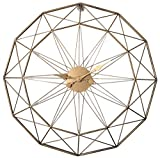 Jo332Bertram 3D 60cm Vintage Wanduhr Groß Wanduhr Uhr Metall Ohne Tickgeräusche Dekorative Wanduhr für Küche Wohnzimmer Büro - Golden