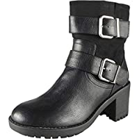 LoudLook Women Biker Boots | Fur Winter Boots | Ladies Ankle Boots | Ladies Ankle Boots 5 | Work Ankle Boots | Ankle Boots Women Buckle | Mid Heel Ankle Boots Women