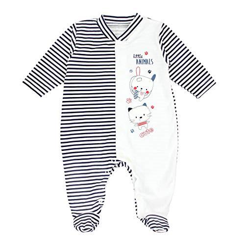 TupTam Baby Unisex Schlafstrampler mit Fuß Gemustert, Farbe: Streifenmuster Dunkelblau/Little Animals, Größe: 74 (Animal Pyjama Mädchen Print)