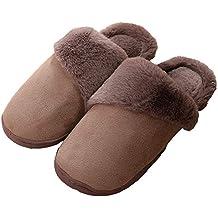 Zapatillas de Estar por casa Mujer Invierno Peluche Cerradas Andar Calienta Pantuflas Hombre Suave Algodón Slippers