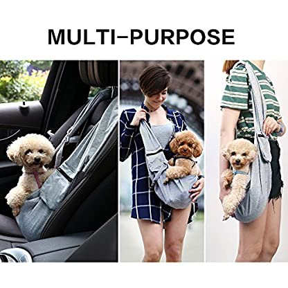 OHANA Pet Reversible Sling Carrier Bag Hands-Free Dog Travel Carrier Bag with Adjustable Strap Double-sided Pouch… 6