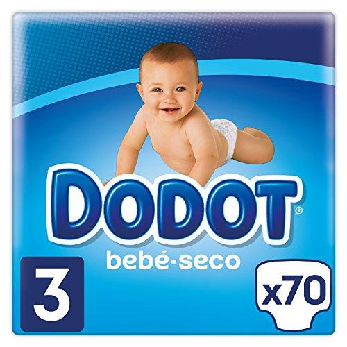 Dodot Bebé-Seco Pañales Talla 3, 70 Pañales, el unico Pañal con canales de Aire, 6-10 kg