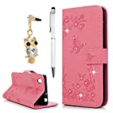 Sony Xperia L1 Case, YOKIRIN Bling Clear Crystal Diamond PU Leather Notebook Wallet Embossed Butterfly Design Case Kickstand Function Card Holder Slot Slim Flip Protective Skin Cover Phone Case Made for Sony Xperia L1, Pink