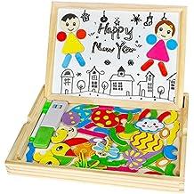 Pizarra Magnética Niños Pizarras Infantil Montessori Juguetes Puzzle de Madera para Niños, 71 Piezas (Estilo Aleatorio)