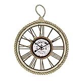 reloj de pared &LYM Relojs de Pared Números Romanos Vintage Retro Relojes Grandes Decoración para el hogar Sala de Estar Dormitorio Cuerda Marco Interior Decorativo (Color : A)