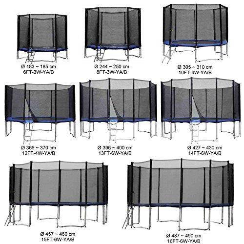 Baunsal GmbH & Co.KG Gartentrampolin Kindertrampolin Trampolin 366 bis 370 cm blau komplettes Set mit Sicherheitsnetz und Einstiegsleiter ...