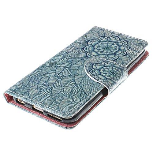 iPhone 6s Custodia, SsHhUu Lusso Stylish MagneticoStand Card Slot PU Leather Flip Protettivo Portafoglio Slim Cover Case + Stylus Pen per Apple iPhone 6 / iPhone 6s 4.7 Fiore