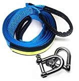 QINUO 5 cm X 5 M, 17,600 Lbs (8 Tonnen) Recovery Tow Strap Kit, Für Off-Road Recovery & Abschleppen,Verstärkte Looped Ends,2 Safety Hooks,Mit Tragetasche