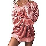 ESAILQ Damen Mit Kapuze Weichem SAMT Pullover Kapuzenpullover Sweatshirt Oversize Mantel Jacke(Medium,Rosa)