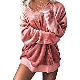 ESAILQ Damen Mit Kapuze Weichem Samt Pullover Kapuzenpullover Sweatshirt Oversize Mantel Jacke(X-Large,Rosa)
