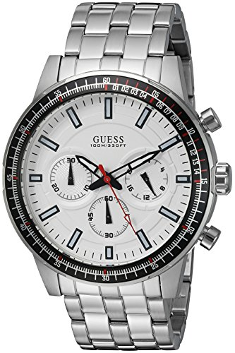 GUESS Men's U0801G1 Sporty Silver-Tone Stainless Steel Watch with Chronograph Dial and Pilot Buckle