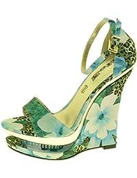 1TO3 - <p>Sandale talon compensé fleurs</p>