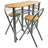 WEILANDEAL Küche/Frühstück Bar/Set Tisch und Stühle Holz Farbe: Hellbraun/Stahl Badezimmer Möbel Sets Badezimmer Möbel Sets