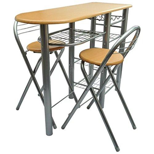 vidaXL Cocina/Bar de Desayuno/Set de Mesa y sillas Madera: Amazon ...
