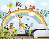 "BZDHWWH Papel Tapiz Personalizado Cuarto De Los Niños Fondo De Dibujos Animados Animal Arco Iris Tv Fondo Sala De Estar Dormitorio Papel Tapiz,12'5"" X 7'10""(Ft)"
