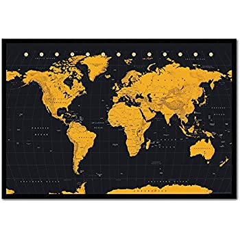 World map poster ye old parchment cork pin memo board black framed world map in black gold poster cork pin memo board black framed 965 x 66 cms approx 38 x 26 inches gumiabroncs Image collections