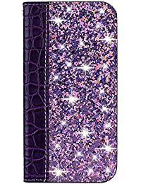 Boloker Funda para Sony Xperia 10 [con Protector Pantalla],Brilla Glitter Carcasa Piel PU Billetera Soporte Plegable con Ranuras Tarjetas Cierre [Magnético] (Púrpura)