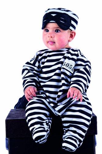 0 - Babykostüm Schlafsäckchen Gefangener 2-teilig (Hut-Overall) (Gefängnisinsassen-kostüm)