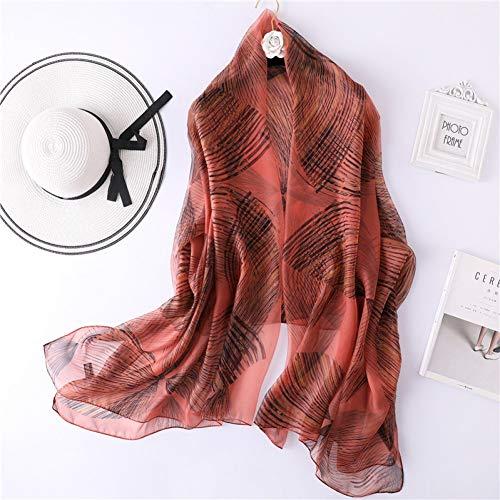 JJHR Seide Schal Chiffon für Für Line Abstract Pattern Silk Scarf Female Thin Section Yarn Sunscreen Shawl Beach Towel Summer -
