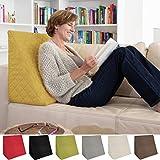 sabeatex Rückenkissen, Keilkissen für Couch und Sofa, Lesekissen für Bequemes Sitzen. 5 Unifarben für Trendiges Wohndesign. Louge-oder Palettenkissen Größe 60 cm x 50 cm x 30 cm (gelb)