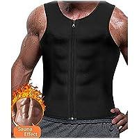 Smart Fitsport - Chaleco de neopreno para hombre, con cremallera, compresión, chaleco, adelgazamiento, camiseta, quemador de grasa, moldeador de cuerpo, fitness, color Sauna Tank Top Black, tamaño XX-Large