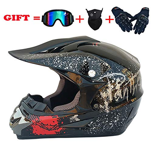 YGFS Black Floral Adult Motocross Helmet Mx Motorcycle Helm Scooter ATV Helmet D.o.t Certified Goggles Gloves Mask (s, M, L, XL) Vier Sizes -