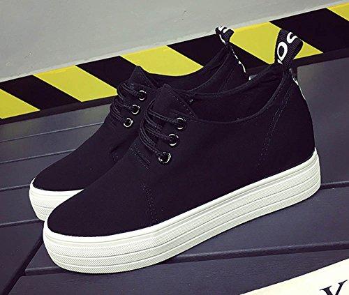 Aisun Damen Klassich Canvas Plateau Unsichtbare Erhöhung Schnürsenkel Sport Fashion Sneakers Schwarz