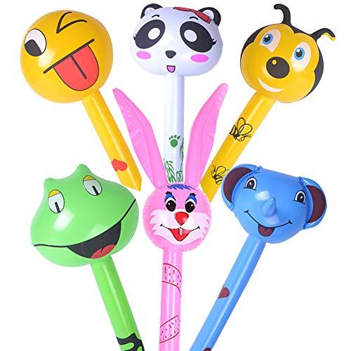 BESTZY Aufblasbare Tiere Party, 6 Stück Aufblasbare Hammer Zoo Süß Party Requisiten für Kinder Geburtstagsfeier Geschenke