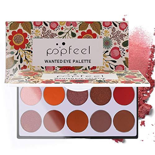 Tianya 10 Farben Glossy Lidschatten Matt Lidschatten Makeup Set Makeup Palette (A)