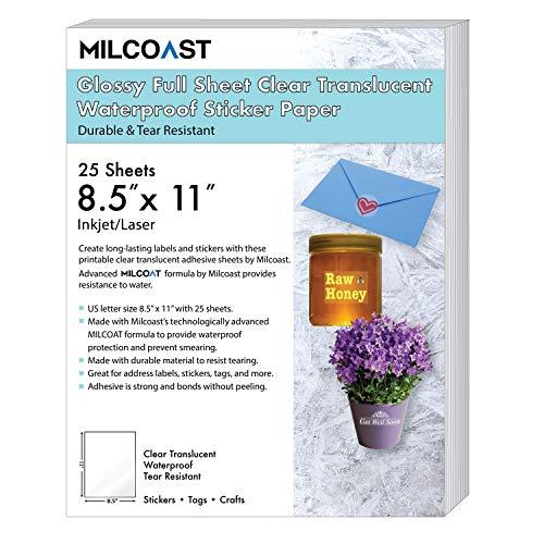 milcoast glänzend Full Tabelle 21,6x 27,9cm transparent Wasserdicht selbstklebend Aufkleber Papier Etiketten, 25Blatt
