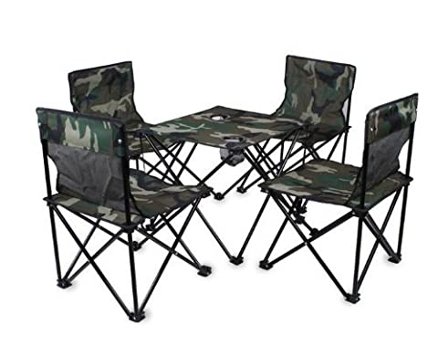 Xianuoduoji Series Folding outdoor camping beach folding chairs fishing chairs folding chairs Five-piece army green camouflage