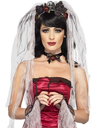 Damen Instant Toter Zombie Braut Schleier Halloween Kostüm Kleid Outfit Zubehör Set (Toten Zombie Braut Kostüm)